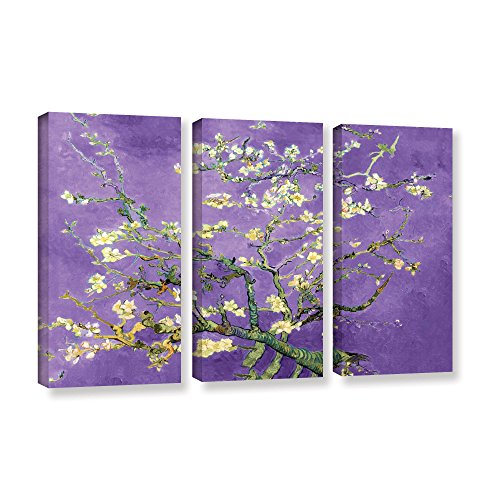 ArtWall 3 Piece - purple flower home wall art decor canvas painting