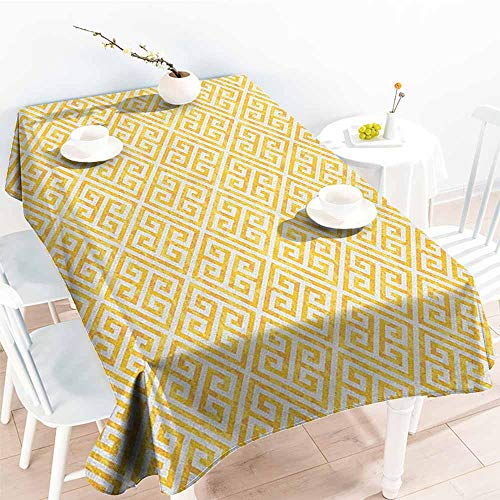 EwaskyOnline Large Rectangular Tablecloth,Greek Key Yellow and White Tile Pattern with Twisted Lines in Squares Grunge Looking Maze,Party Decorations Table Cover Cloth,W60X102L, Yellow White