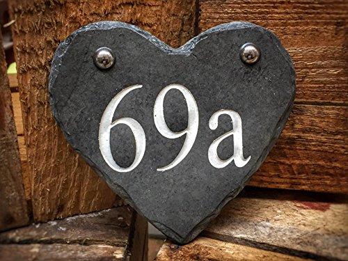 Pequeño corazón pizarra número cartel - 14 x 13 cm - alta ...