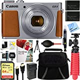Canon PowerShot G9 X Mark II 1″ 20.1MP 4x Zoom Silver Digital Camera + Two-Pack NB-13L Spare Batteries + Accessory Bundle