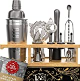 Jake and Jill Bartender Kit: 12-pc Cocktail Shaker Bar Set - Engraved Recipes
