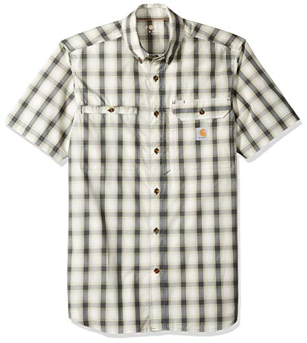 Carhartt Men's Force Plaid Ridgefield Short Sleeve Shirt (Regular and Big & Tall Sizes), Shadow, - Sleeve Utility Shirt Short