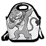 Funny Dabbing Lion King Dab Dance Neoprene Lunch Bag Insulated Lunch Box Tote For Women Men Adult Kids Teens Boys Teenage Girls Toddlers (Black)