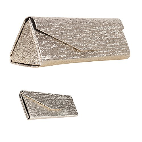 Formal Foldable Eyeglass Case, Elegant Metallic White Gold Design Protective Reading Glasses Holder for Weddings and Special Events, PVC - By OptiPlix
