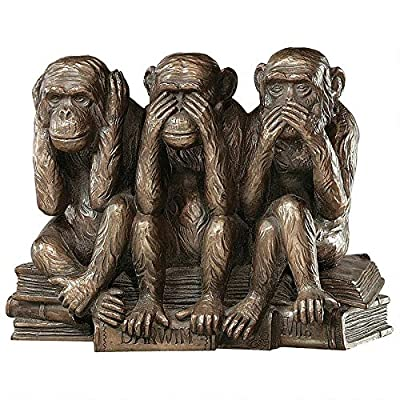 """Design Toscano PD0093 Hear-No, See-No, Speak-No Evil Monkeys Animal Statue Three Truths of Man Figurine, 7 Inch, Polyresin, Bronze Finish - Dimensions: 7""""Wx3.5""""Dx5""""H 3 lbs. Cast in quality designer resin Faux bronze finish - living-room-decor, living-room, home-decor - 51vHyogCy0L. SS400  -"""