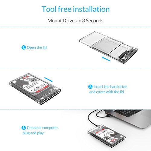 "External Hard Drive Enclosure 2.5"" HDD/SSD USB3.1 Gen1 Type-C To SATA III 6"