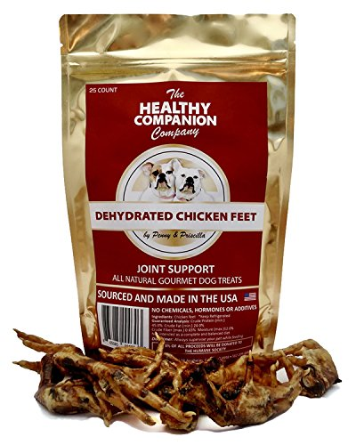 The Healthy Companion Company All Natural Grain-Free Gourmet Dog Treats to Support Joint Health | Improves Teeth and Gum Health (Dehydrated Chicken Feet, 25 Count) (Chicken Feet, 25 Count)