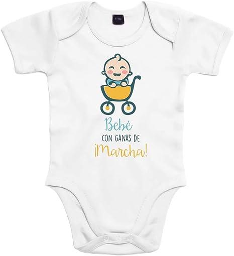 SUPERMOLON Body bebé algodón Bebé con ganas de marcha 3 meses Blanco Manga corta: Amazon.es: Bebé