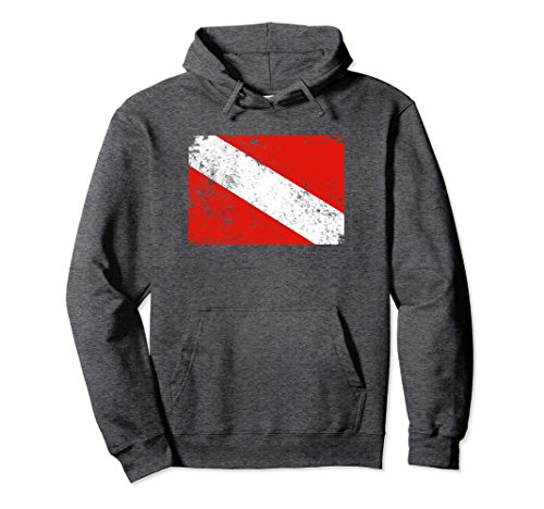 Unisex Distressed Dive Flag Scuba Diving Hoodie XL: Dark Heather