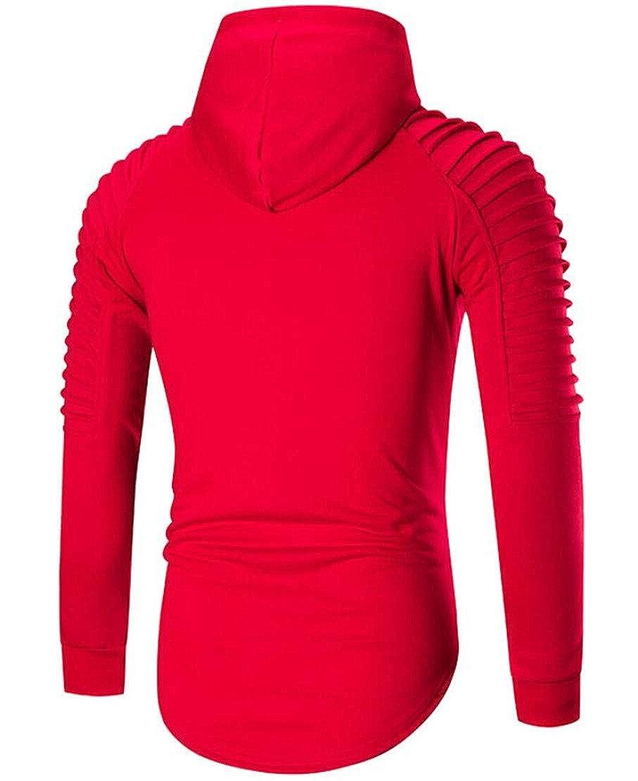 Rrive Mens Pocket Stylish Pleated Hole Hoodie Pullover Sweatshirt