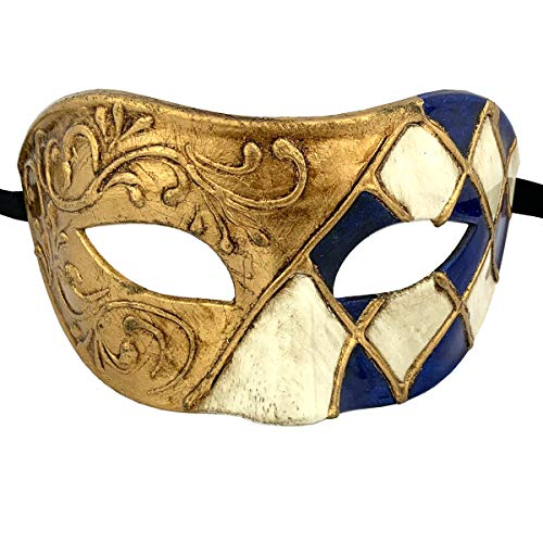 (Xvevina Luxury Mask Cool Men Blue Gold Venetian Party Masks for Masquerade)