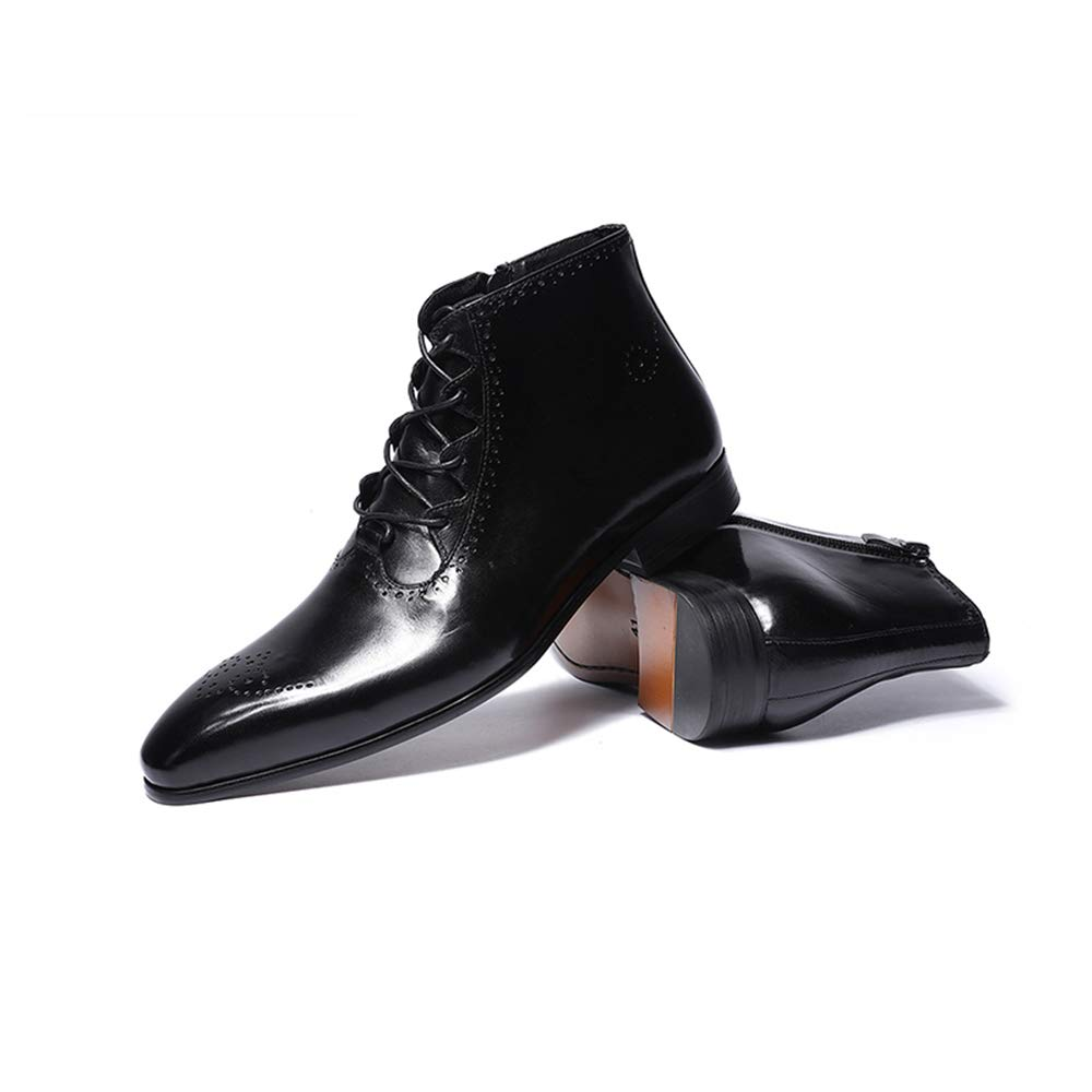 23f306f5b7f FELIX CHU Mens Dress Boots Genuine Leather Ankle Boots High Top Lace-up  Classic Casual Fashion Boots for Men