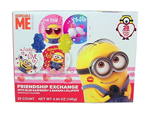 Lollipops Valentines Day (Despicable Me Minions Valentine's Day Friendship Exchange with Lollipops, 28 Count)