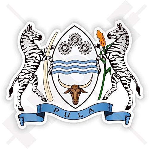 "BOTSWANA Coat of Arms Southern Africa, Botswanian National Emblem 100mm (4"") Vinyl Bumper Sticker, Decal"