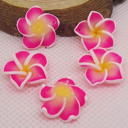 - Pukido 20pc/lot 20mm Yiwu Market Beautiful Soft Clay Polymer Fimo Plumeria Flower Beads Decorated Hawaii Earring Jewelry Craft Material - (Color: Pink)