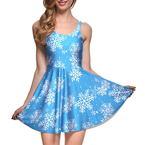 Christmas Snow Printed Skater Dress