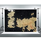 Movie World Map Backdrop for Photography, 9x6FT, Song of Ice and Fire Game of Thrones Background, Fans Party Backdrop LYLU218