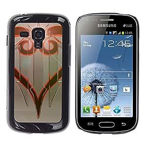 KLONGSHOP // Cubierta de piel con cierre a presión Shell trasero duro de goma Protección Caso - Diseño tribal - Samsung Galaxy S Duos S7562 //