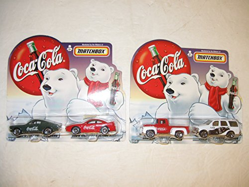 Coca Cola Matchbox Collectibles 1956 Ford Pick Up, 1998 Ford Expedition, 1968 Ford Mustang, 1999 Ford Mustang, this set of 4 Coca Cola Matchbox Collectibles are in Mint Condition, Coca ()