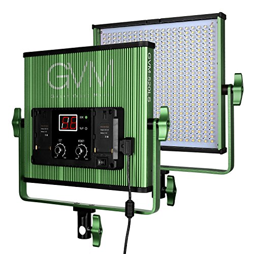 GVM 520 Piece LED Video Light CRI97 Plus & TLCI 97+ Plus 18500lux@20 inch Variable color temperature 3200-5600K with Digital Display for Video Making and Location Shooting, Interview, Portrait, Green by GVM