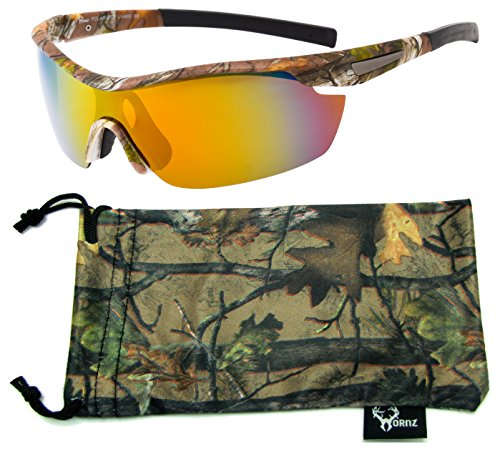 Hornz Brown Forest Camouflage Polarized Sunglasses for Men Wrap Around Sport Frame & Free Matching Microfiber Pouch - Brown Camo Frame - Orange Lens
