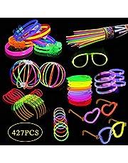 200 palos luminosos, equipo para festivales, luces festivas con bastoncitos luminosos incl.200 conector 2D, 5 conectores circulares, mezcla de 6 colores (427piezas)