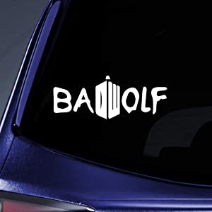 "Bargain Max Decals - Whovian Bad Wolf DW - Sticker Decal Notebook Car Laptop 4"" (White)"
