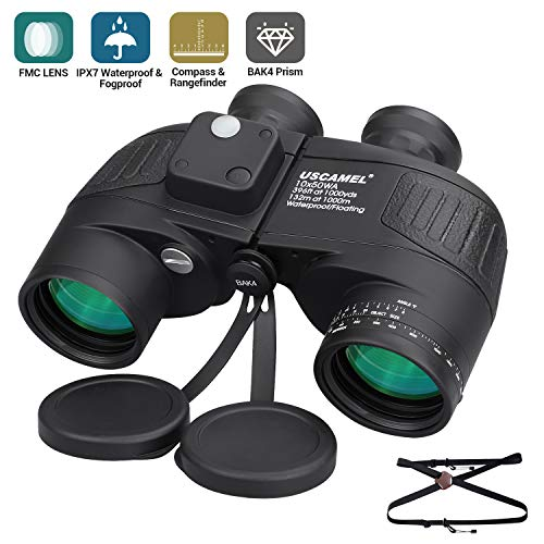 10x50 Marine Binoculars for Adults - Military Binoculars Waterproof with Compass - BAK4 Prism FMC -for Boating Fishing -with Strap - Black
