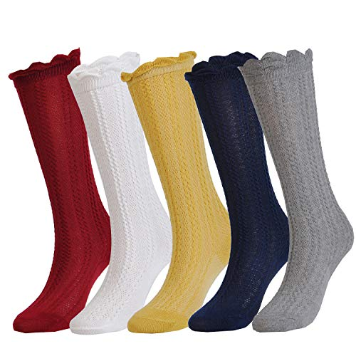 Epeius 5 Pairs Little Girls Cotton Uniform Knee High Socks Kids Boys Tube Ruffled Stockings for 2-4 Years,White/Grey/Navy/Yellow/Wine Red