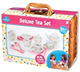 Deluxe Ceramic Tea Set with Basket