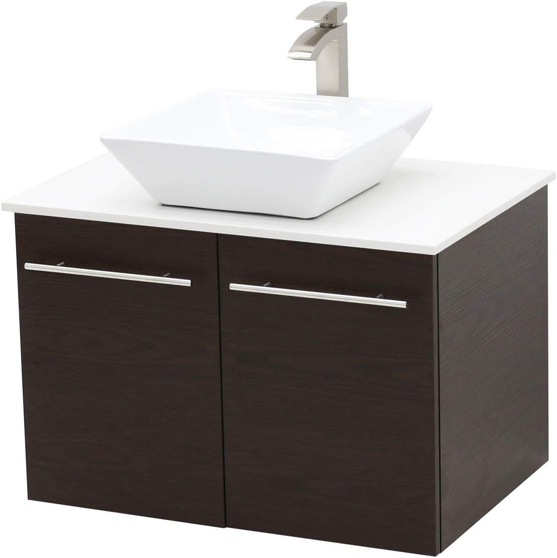 WindBay Wall Mount Floating Bathroom Vanity Sink Set. Dark Brown Vanity, White Flat Stone Countertop Ceramic Sink – 36