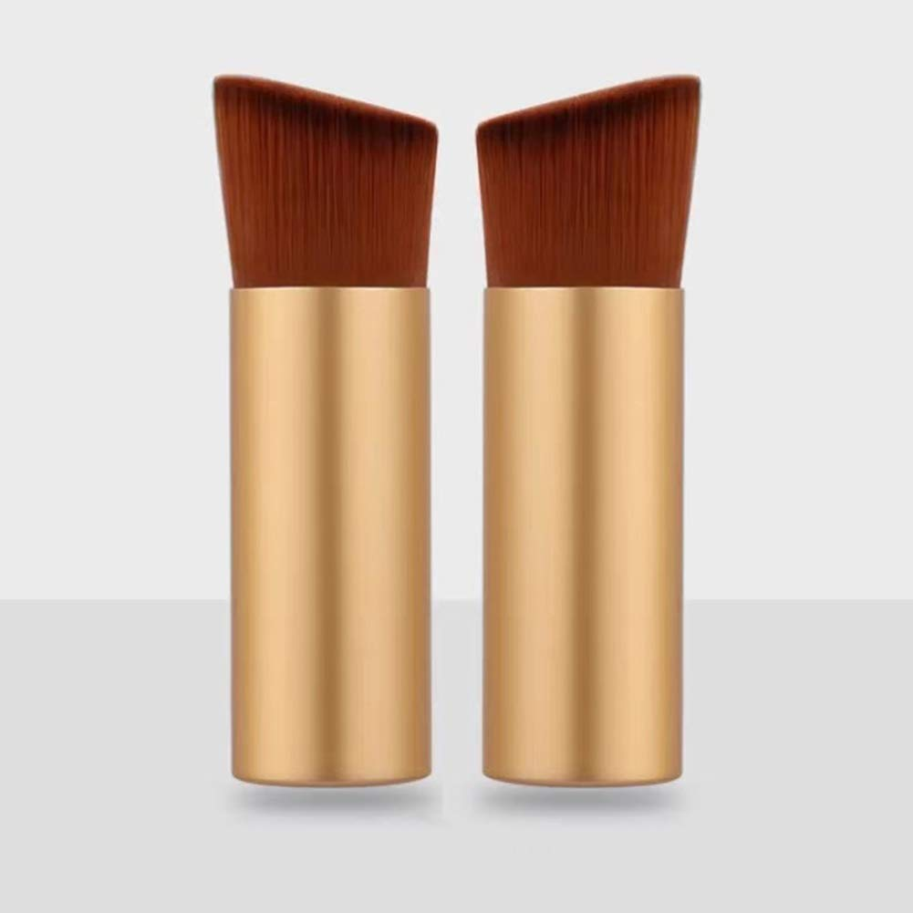 RN BEAUTY 2 Pieces Makeup Brushes Powder Brush Foundation Blush Bronzer Contour Face Blender Brush Mineral Blending Buffing Kabuki Brush Thick and Dense Soft Synthetic Fibers Bristles Angled Top (Frosted Golden)