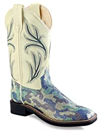 Old West Cowboy Boots Girls Kids Camo Square Toe Silver Blue VB9126