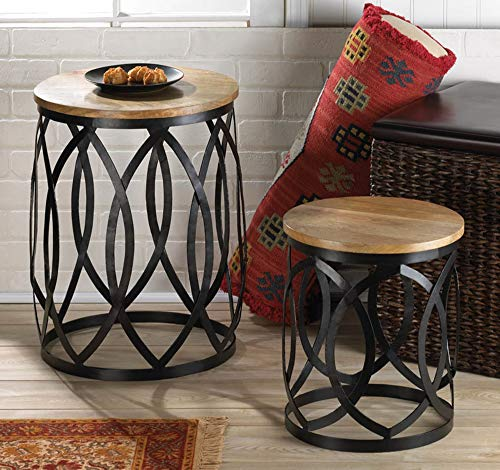 Modern Farmhouse Accent Tables Set of Two, 2 Round Metal Side Occasional Table with Wood Top, Wood Iron End Table, Metal Drum Table, Steel Nightstands, Black Barrel Tables, Rustic Home ()