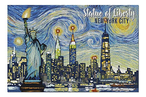(New York City, New York - Statue of Liberty - Starry Night (20x30 Premium 1000 Piece Jigsaw Puzzle, Made in USA!))