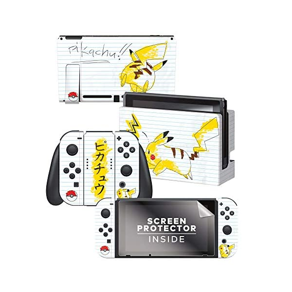 Controller Gear Officially Licensed Nintendo Switch Skin & Screen Protector Set - Pokemon - Pikachu Scribble Set 1… 1
