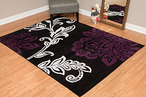 - United Weavers of America Dallas Trousseau Rug - 2ft. 3in. x 7ft. 2in, Plum, Polypropylene Rug with Floral Pattern, Jute Backing. Modern Indoor Rugs