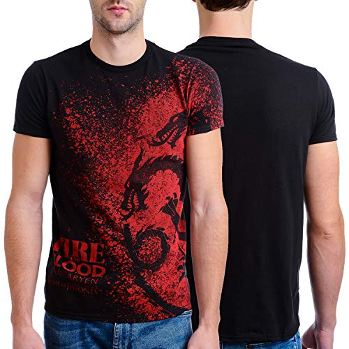 Game Cloth Silk - HBO'S Game of Thrones Men's Fire and Blood Splatter T-Shirt, Black, X-Large