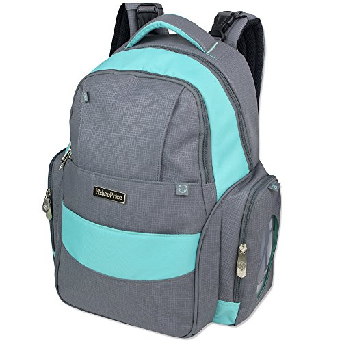 Fisher-Price Diaper Bag Backpack (Grey/Aqua)