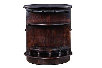 Desi Meubles Sheesham Wood Round Bar Cabinet in Walnut