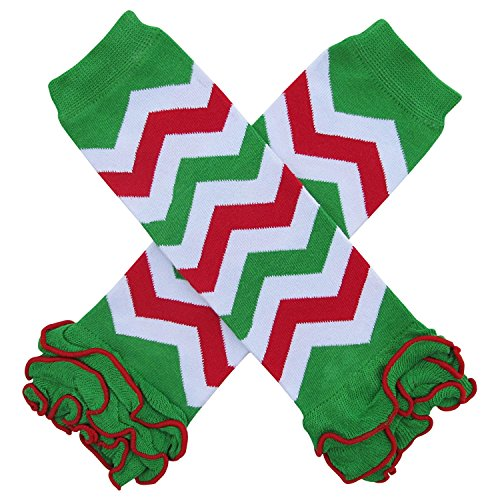 Christmas Holiday Winter Party Styles Leg Warmers - One Size - Baby, Toddler, Girl, Boy (Ruffle Bottom Chevron Christmas Red & Green)
