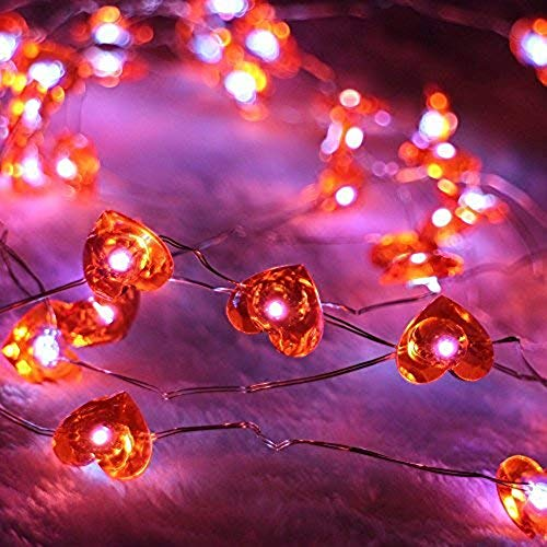 ER CHEN Newest 40 LED Hearts,10Ft Long Indoor&Outdoor Waterproof Battery Operated Silver Wire String Lights with -