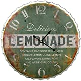 Round Decorative Metal Wall Clock Retro Antique Look Lemonade Bottle Cap 3D Extra Large 24 x 24 Inches
