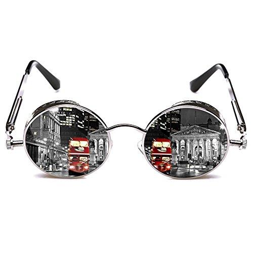 ROCKNIGHT Gothic Steampunk Polarized Round Sunglasses for men Silver Mirrored Sunglasses for Men