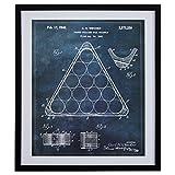 Modern Dark Blue Print, Billiard Rack Patent, in Black Frame, 28'' x 34''