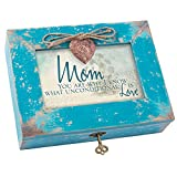 Mom You are Unconditional Love Teal Wood Locket Jewelry Music Box Plays Tune You Light up My Life