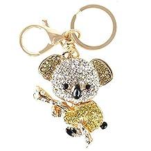 Yellow Koala Bear Charm Pendant Cute Crystal Purse Bag Key Chain Creative Gift
