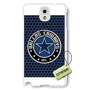 Personalize NFL Dallas Cowboys Team Logo Frosted White Samsung Galaxy Note 3 Case Cover - White