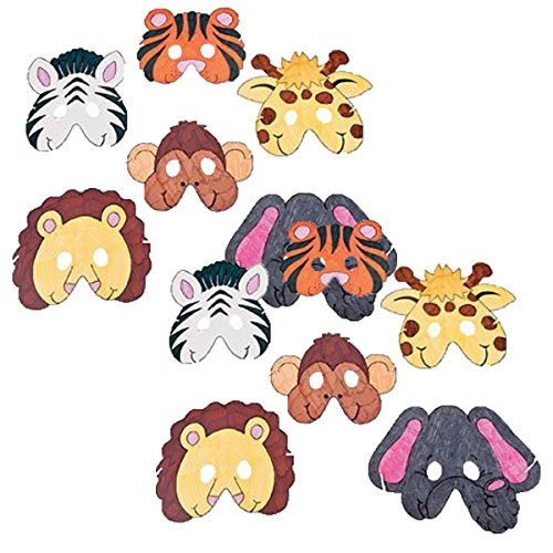 Fun Express Color Design Your Own Zoo Animal Mask - 24 Pieces by Fun Express