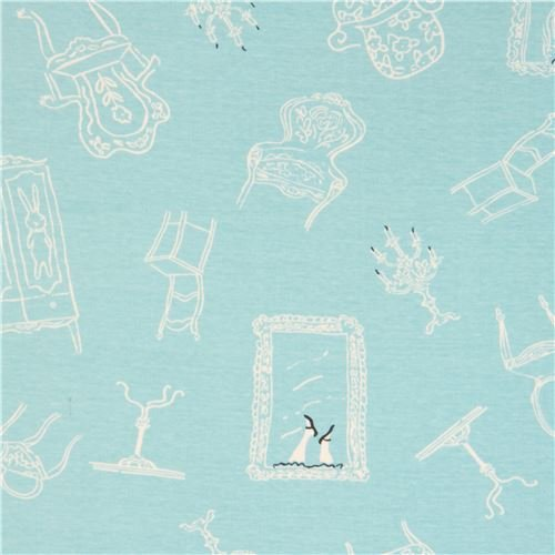 Turquoise with cupboard chair picture frame birch knit organic fabric USA (per 0.5 yard unit)